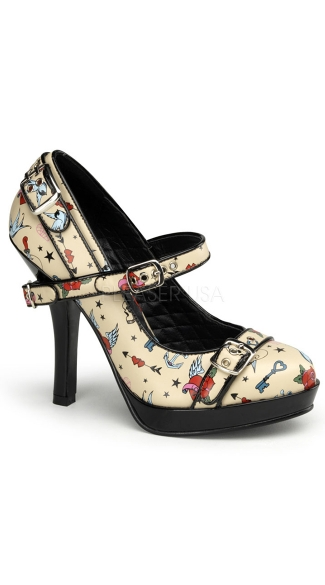 "4 1/2"" Heel, 1/2\"" P/f Mary Jane Pump W/ Buckle Straps Detail"