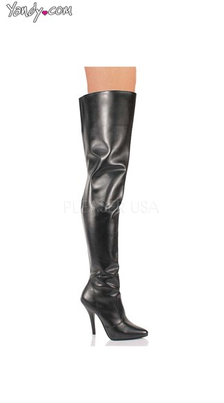 "Black 5"" Heel Thigh High Boot, Black Patent Thigh High Boot"