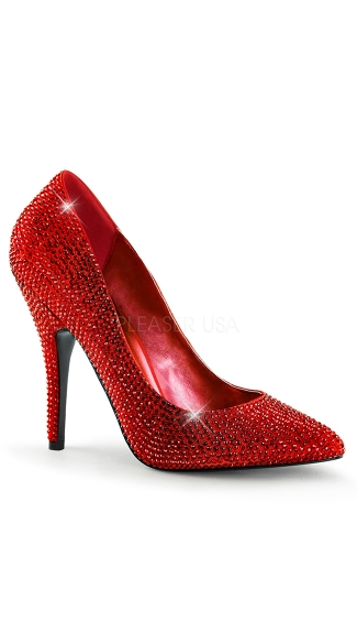 "5"" Rhinestone Covered Pointed Toe Pump"
