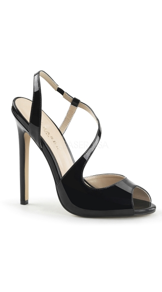 Asymmetrical Peep Toe Sandals, Black Peep Toe High Heels