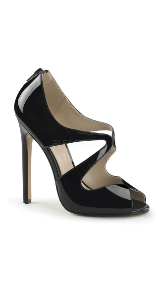 Black Peep Toe Cut Away Pumps