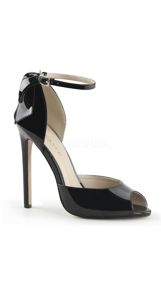 Black Peep Toe Pumps with Ankle Strap