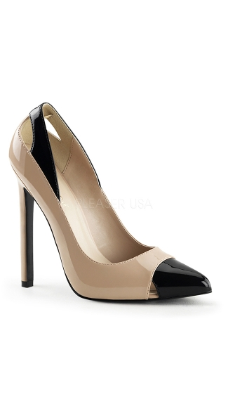 5 Inch Two Tone Spectator Pump, Sexy 5 Inch Pump with Cut Outs, Patent Pump with Pointy Toe