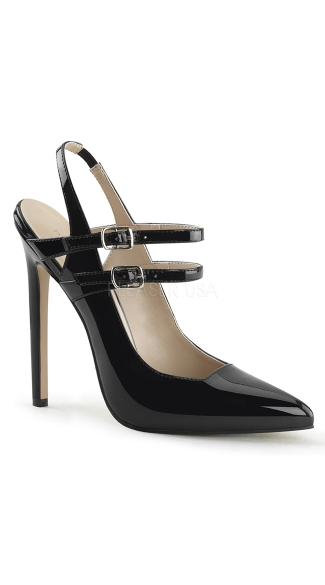 Double Strap Pointed Toe Pumps, Black Strappy Pumps