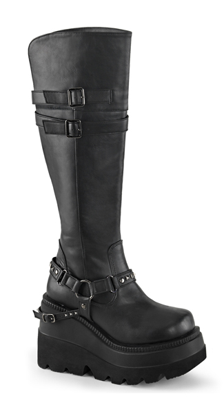 Knee Boot With Buckle Straps
