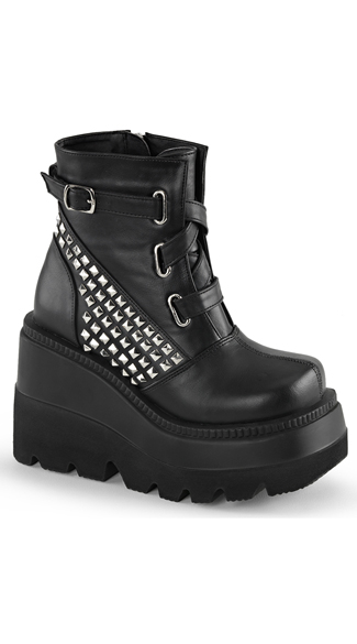 Stacked Wedge Ankle Boot with Studs