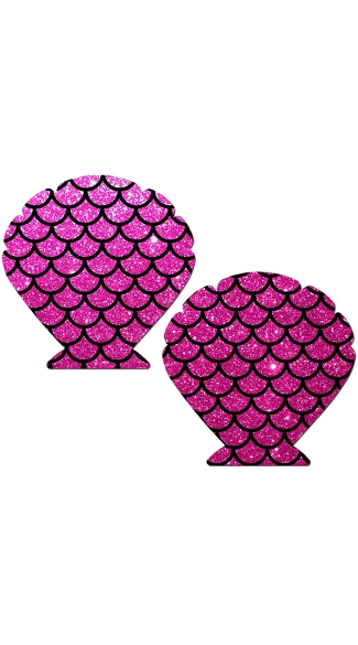 Hot Pink Glittery Seashell Pasties With Scales, Shell Shaped Nipple Pasties, Mermaid Nipple Pasties