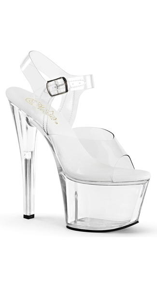 "7"" Clear Platform Sandals, Clear Sandals, Vegan Leather Sandals"