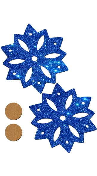 Blue Glitter Snowflake Pasties, Winter Nipple Pasties, Snowflake Nipple Pasties