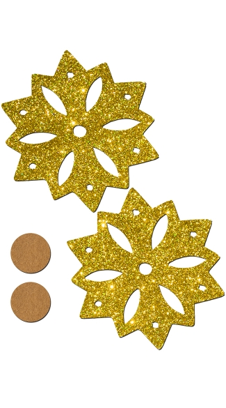 Gold Glitter Snowflake Pasties