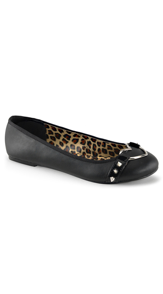 Black Ballet Flats with Silver Heart