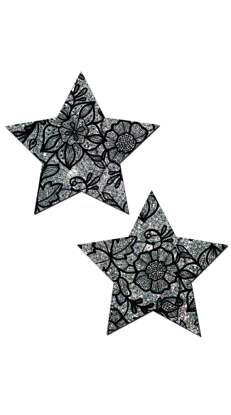 Silver Glitter And Black Lace Star Pasties