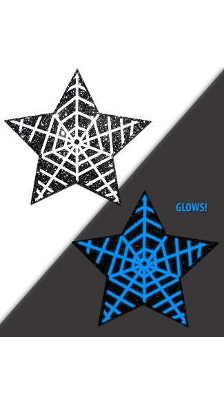 Glowing Web Star Pasties, Halloween Pasties, Spider Web Halloween Nipple Pasties