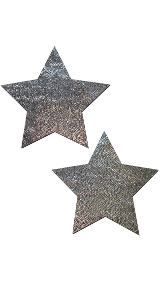 Liquid Silver Star Nipple Pasties