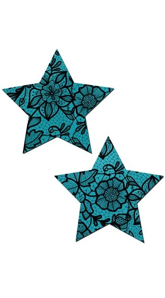 Blue and Black Flower Lace Star Pasties