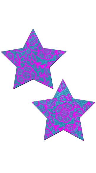 Blue and Pink Flower Lace Star Pasties, Pink Lace Nipple Pastie, Pink Star Pasties