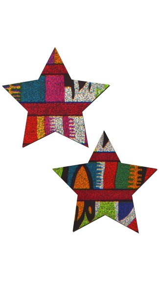 Tribal Multi-Color Star Pasties, Colorful Star Pasties, Tribal Pasties