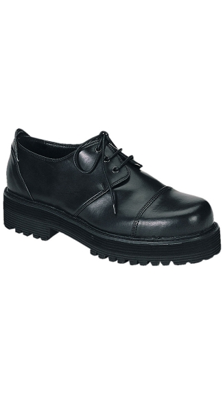 Mens Black Leather 3 Eyelet Shoe