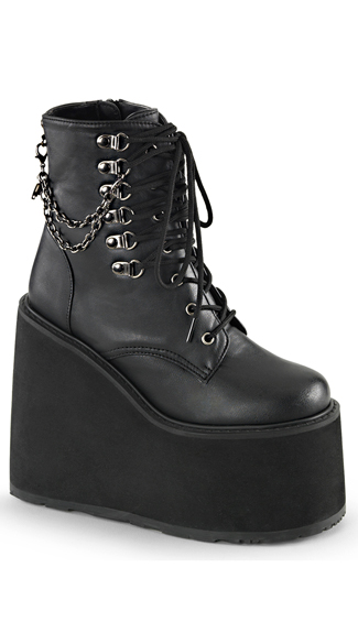 "5 1/2"" Lace-Up Wedge Boot with Chains"