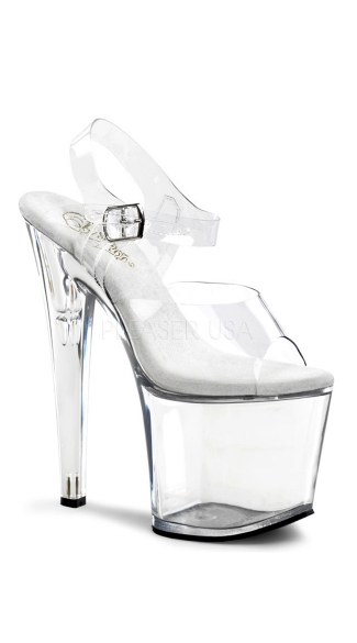 Taboo-708, 7 1/2 Inch Stiletto Heel Ankle Strap Platform Sandal, Tall Clear Stiletto With Ankle Strap