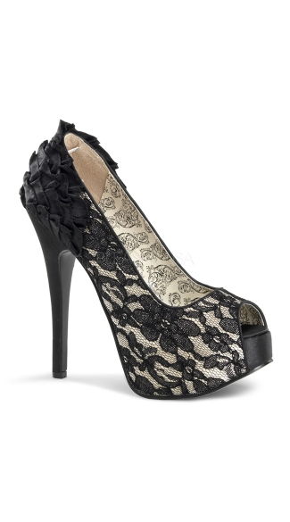 Lace Peep Toe Pumps with Ruffles