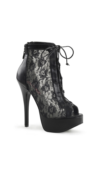 "Lace Up Ankle Bootie With 5 3/4"" Heel And Hidden Platform, Lace Up Ankle Boot With Heel, Hidden Platform Ankle Boot"