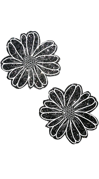Black and White Glitter Flower Pasties, Glitter Nipple Pasties, Daisy Nipple Pasties