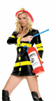 Tempting Flames Firefighter Costume, Womens Red Fire Fighter Costume