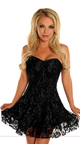 Corset Black Lace Cocktail Dress