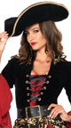 Ruthless Pirate Wench Costume, Plus Size Red and Black Sexy Pirate Costume, High-Low Dress Sexy Pirate Costume
