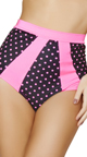 Black and Pink Tie Front Halter Top, Pink Polka Dot Bathing Suit Top