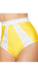 Yellow and White Tie Front Halter Top, Yellow Polka Dot Bikini Top