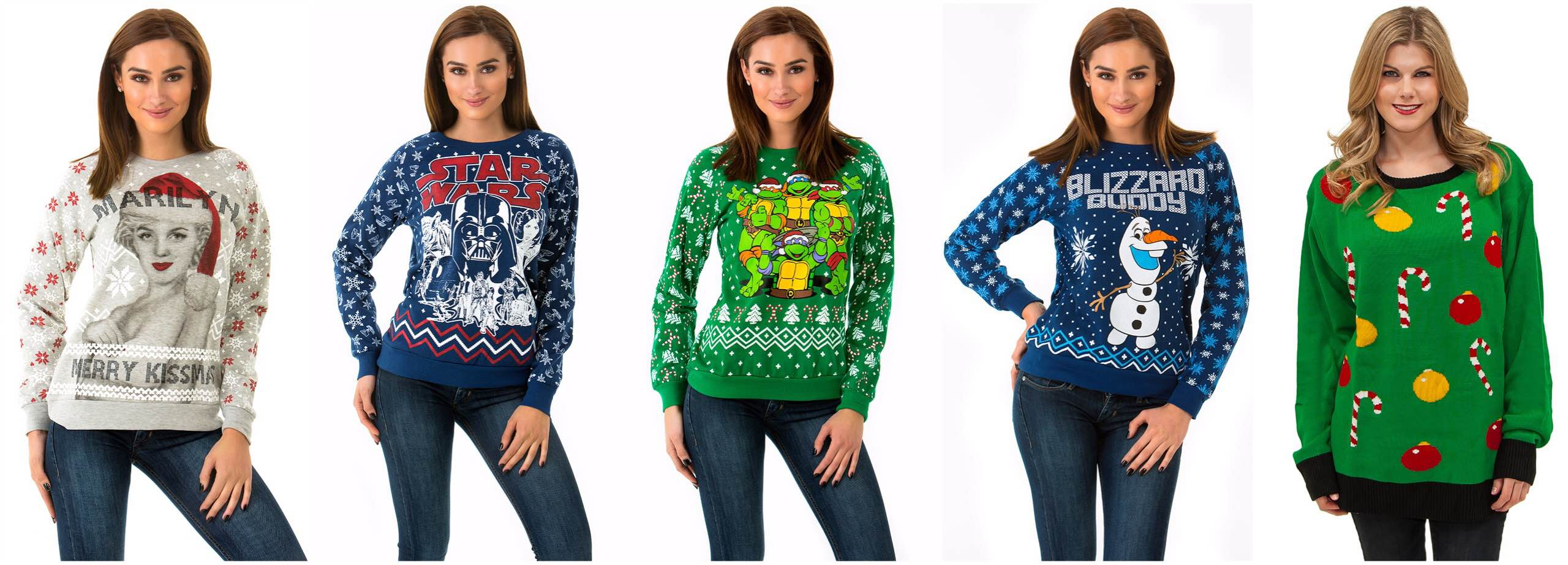 enticing marilyn monroe christmas sweater 2 navy blue star wars holiday sweater 3 radical teenage mutant ninja turtle holiday sweater 4