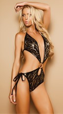 Gold and Black Sequin Monokini