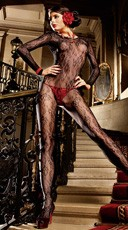 Long Sleeve Floral Lace Bodystocking