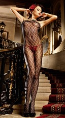 Fleur de Lis Lace Bodystocking with Ruffle