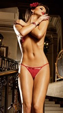 Red Lace G-String with Bow