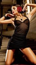 Black Mesh Halter Dress with Lace Trim