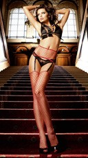 Red Industrial Net Garter With Thigh High Stockings
