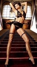 Black Fence Net Thigh High Stockings
