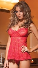 Stretch Lace Babydoll Set