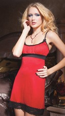 Red Chemise with Black Lace Trim