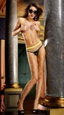 Yellow Diamond Net Pantyhose
