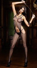 Black Mesh Suspender Hose Bodystocking