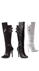 Quilted Knee High Studded Boot with Buckles