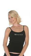 Spaghetti Strap Tank with Clear Crystal Rhinestone