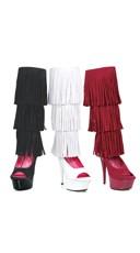Layered Fringe Velvet Knee High Boots