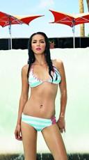Lace Up Striped Bikini Set