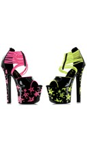 """7"""" Neon Star Stiletto With Elastic Band"""