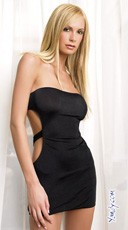 Black Slinky Tube Dress with Cut Out Back